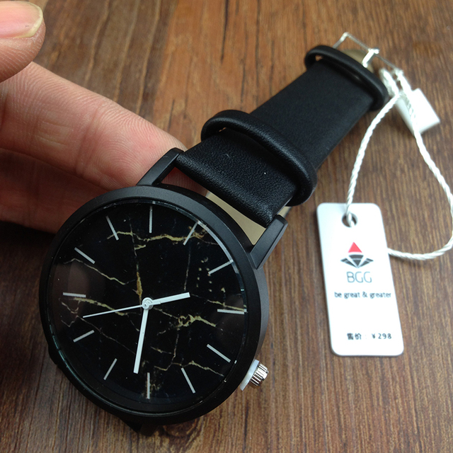 Brit Genuine Leather Marble Watch