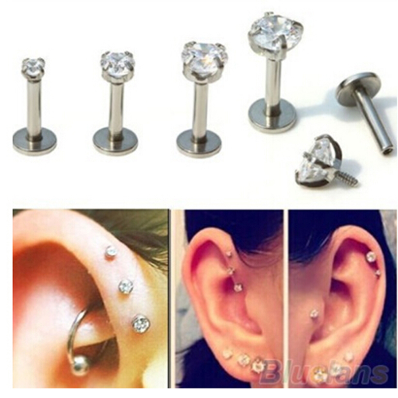 Bar 2 3 4 5mm Cubic Zirconia Gem Ear Cartilage Tragus Helix Studs Earrings Lip Labret Piercing Fashion Jewelry Gifts 368982 In Stud From