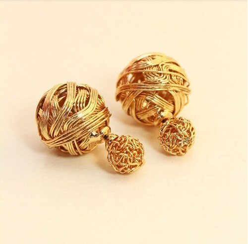 Hot Ing New Latest Fashion Double Sides Pearl Earring Two Gold Ball Stud Earrings For