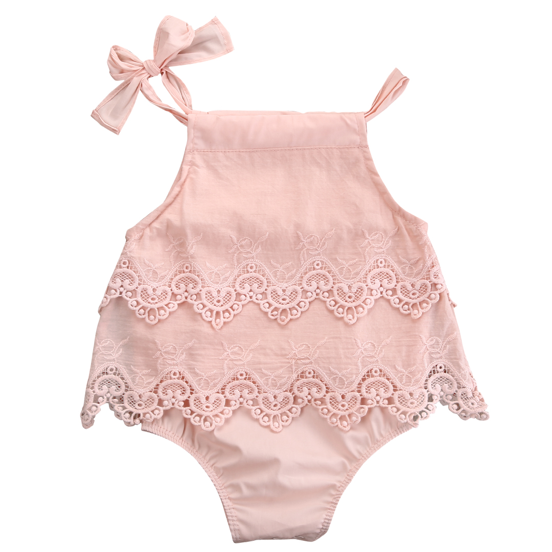 b7618444a5d4c Newborn Baby Girls Lace Crocheted Romper Sleeveless Spaghetti straps  Jumpsuit Outfit Sunsuit Flower Clothes 0-18M