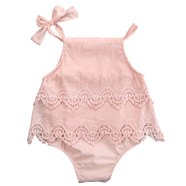 1f9851a81776 Newborn Baby Girls Lace Crocheted Romper Sleeveless Spaghetti straps  Jumpsuit Outfit Sunsuit Flower Clothes 0-18M