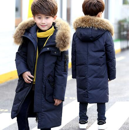 Boys Down Jackets 2018 New Winter Children Duck Down Parka Coats Boy Hooded Clothes Kids Fur Collar Thick Warm Long Outerwear