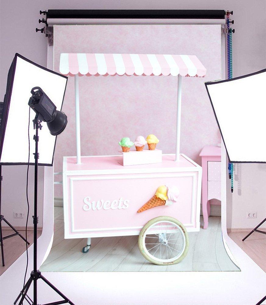 pink Ice Cream Cart Candy bar theme shop buffet Background Vinyl cloth Computer print wa ...