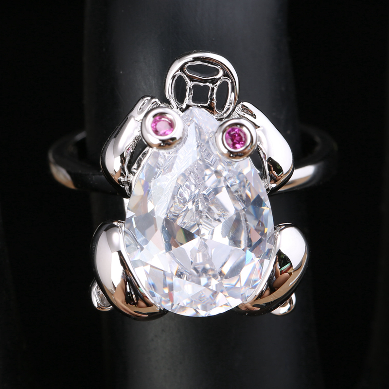 Lovely Frog White Zircon 925 Sterling Silver Trendy Jewelry Ring US# Size 6 / 7 / 8 / 9 S1797 equte rssw30c1s7 fashionable titanium steel two zircon women s ring silver white us size 7
