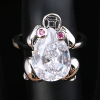 Lovely Frog White Cubic zirconia 925 Sterling Silver Trendy Women's Jewelry Rings US# Size 6 7 8 9 S1797