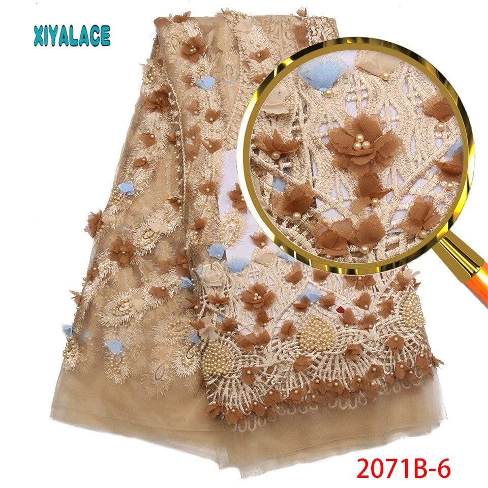 Últimos cordones africanos 2018 tela de encaje francés 3D con cuentas pesadas bordado de encaje para tela de encaje de boda nigeriana PGC2071B-in encaje from Hogar y Mascotas    1