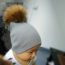 2016 Winter Girls Boys Fur Pom Pom Beanies Hats Cotton Beanies Cap For Baby Lovely Winter Knitted Hats With Fur PomPom Hats Kids