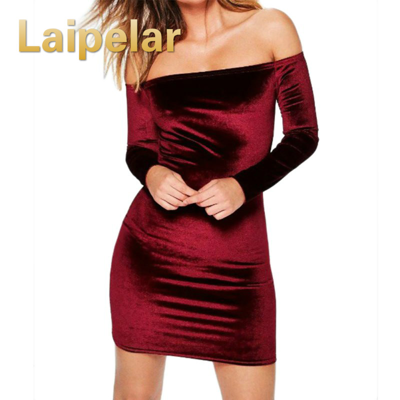 <font><b>Sexy</b></font> <font><b>Off</b></font> <font><b>Shoulder</b></font> Wine Red Sheath Velvet Dress Women Winter <font><b>Party</b></font> Long Sleeve <font><b>2018</b></font> <font><b>Elegant</b></font> Pencil <font><b>Bodycon</b></font> Ladies Dress Vestidos image