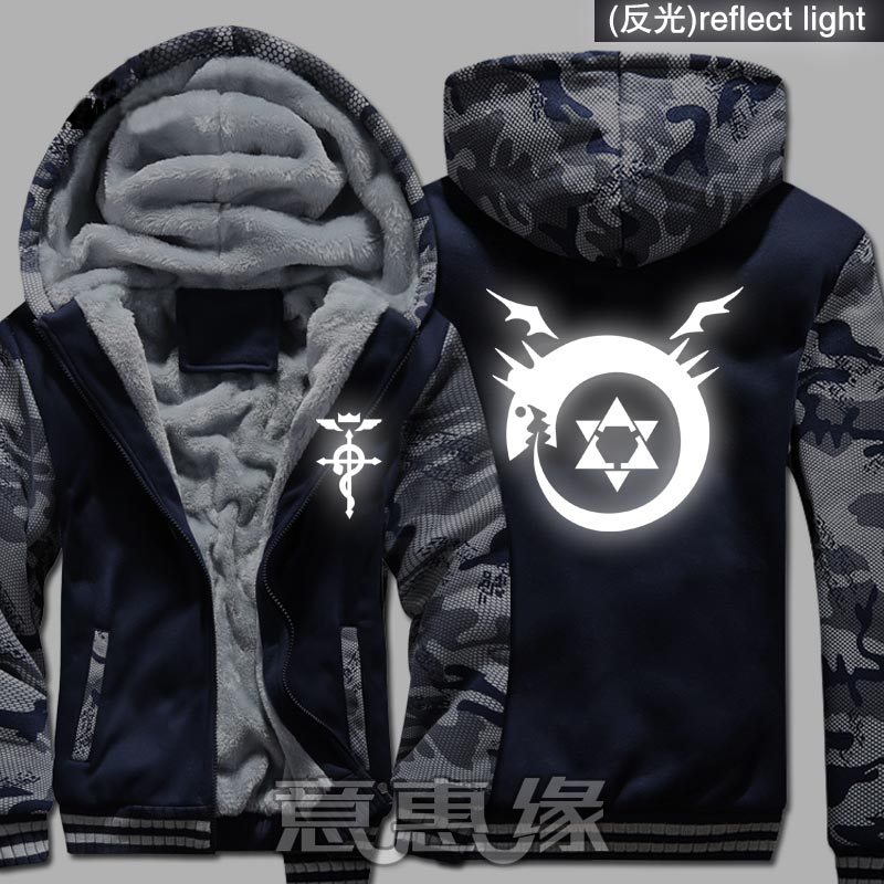 New Winter Warm Fullmetal Alchemist Hoodies Edward Elric Hooded Coat Thick Zipper men Jacket Sweatshirt