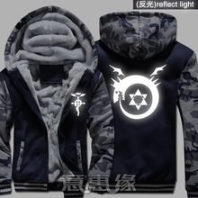 New Winter Warm Fullmetal Alchemist Hoodies Edward Elric Hooded Coat Thick Zipper men Jacket Sweatshirt