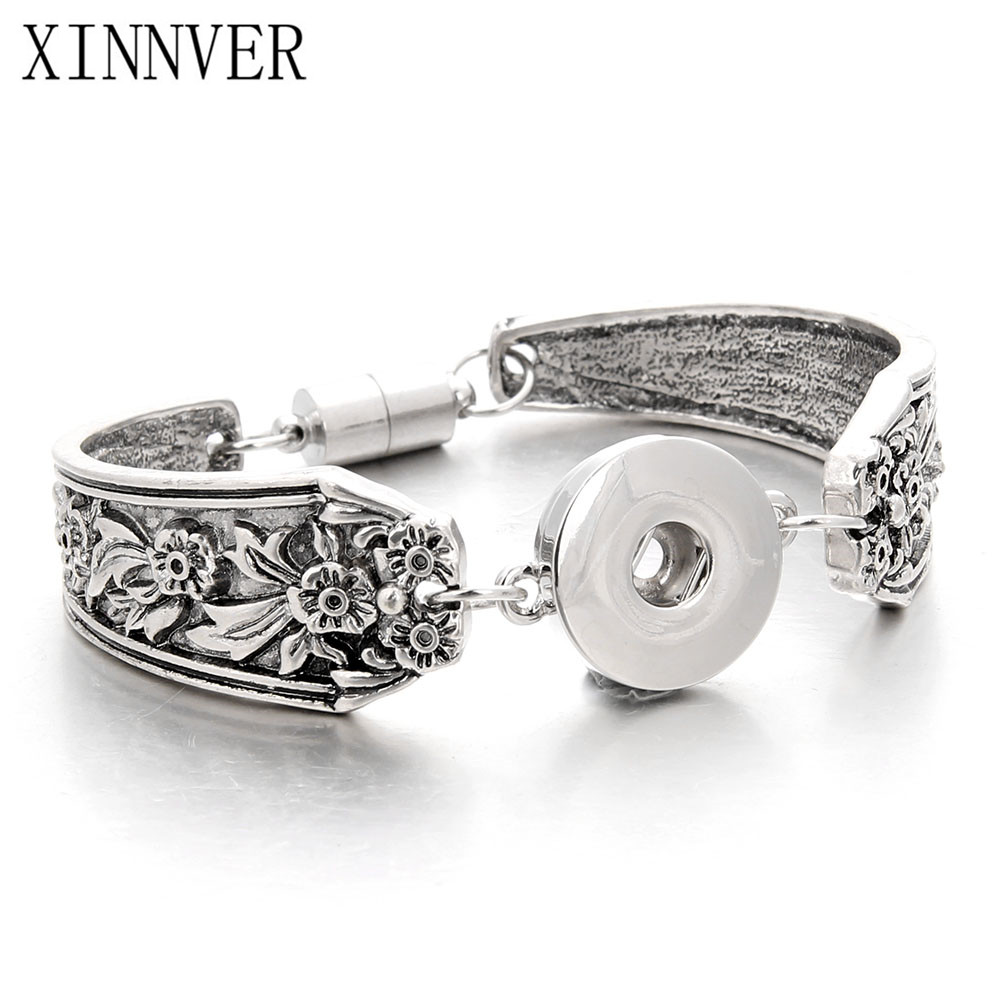 Bracelet Jewelry Snap Pulsera Fit 18-20mm Xinnver Snap Button Carve Flower Magnetic Tube Bar Clasp Antique Silver Tone ZE037