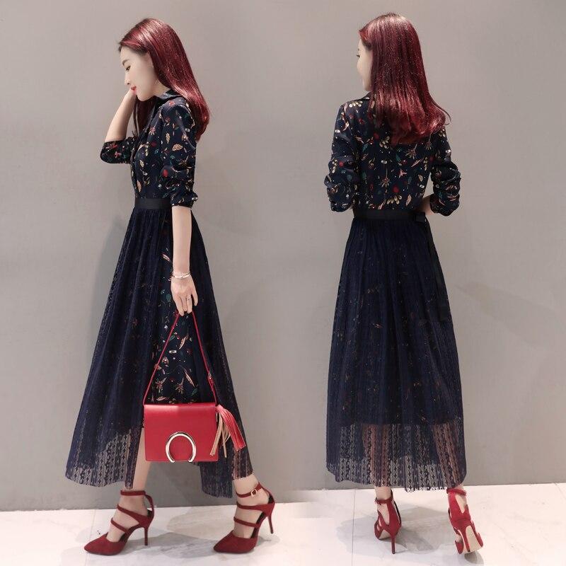 2017 Neue Fruhling Koreanische Spitze Kleid Zweiteilige Anzug Kragen Damen Kleid Lassig Basis Dress Two Pieces Ladies Dresses Casuallace Dress Aliexpress