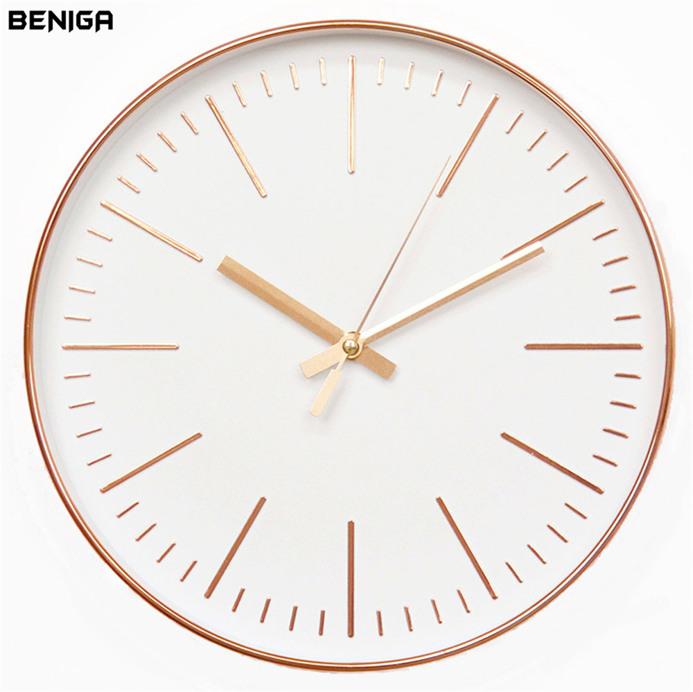 12 inch Modern Minimalist Rose Gold Wall Clock Vogue European Luxury Graceful Round Silently Quartz Needle Wall Clock for Decor ...