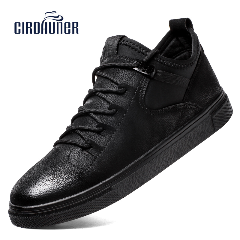 CIROHUNER Men's Leather Casual Shoes Male Lace up Flats Black Men Sneakers Comfortable Dress Shoes For Mens Chaussure Homme dxkzmcm men casual shoes lace up cow leather men flats shoes breathable dress oxford shoes for men chaussure homme