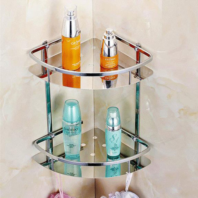 Stainless Steel 304 Bathroom Corner Shelf Shower Room Rack For Body Wash Bottle Toilet Table