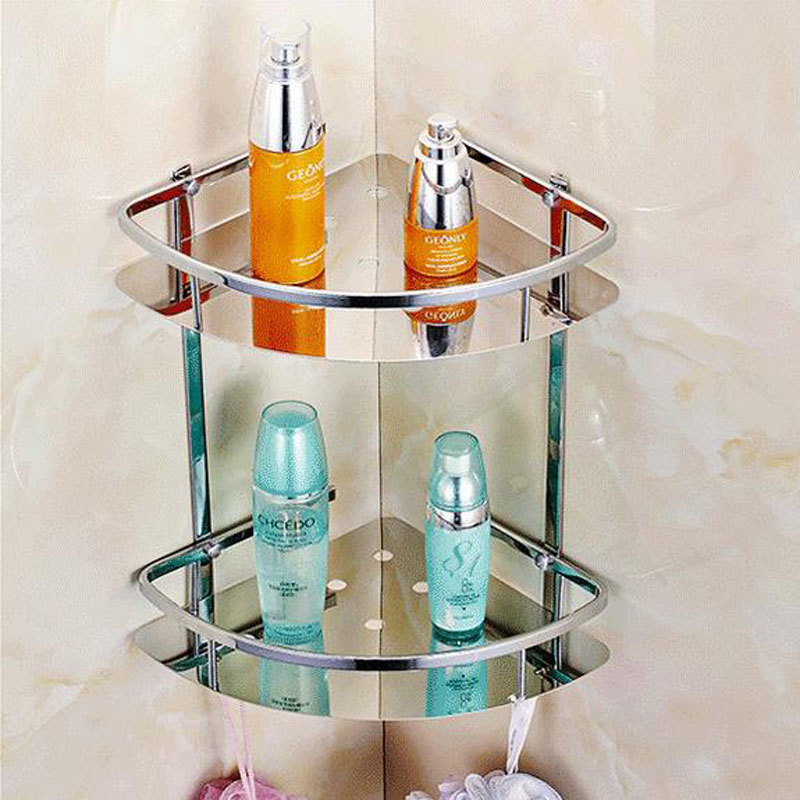Stainless steel 304 bathroom corner shelf shower room rack for body wash bottle toilet table shelf dresser rack holder