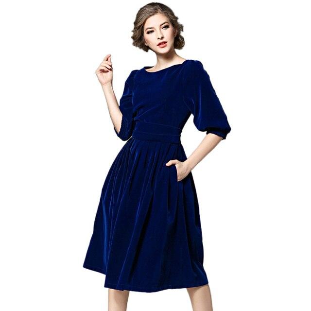 582c392d660 2018 г. зимние женские бархатное платье Винтаж Королевский синий цвет красный  вечернее платье с коротким