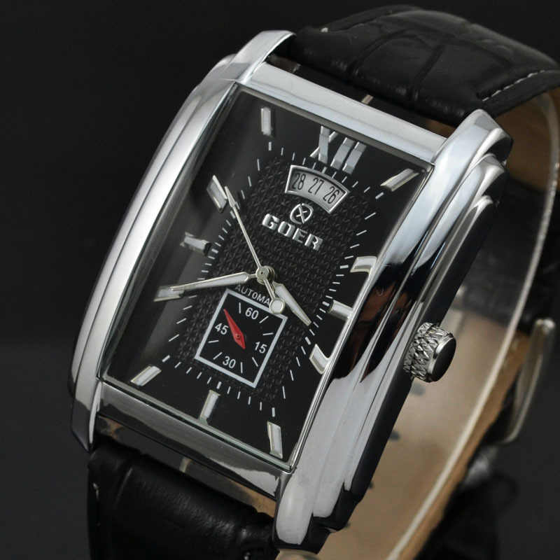 ยี่ห้อใหม่นาฬิกาผู้ชายนาฬิกาผู้ชาย GOER นาฬิกาแฟชั่นนาฬิกาสี่เหลี่ยมผืนผ้านาฬิกาหนังผู้ชายนาฬิกา montre Homme 2020