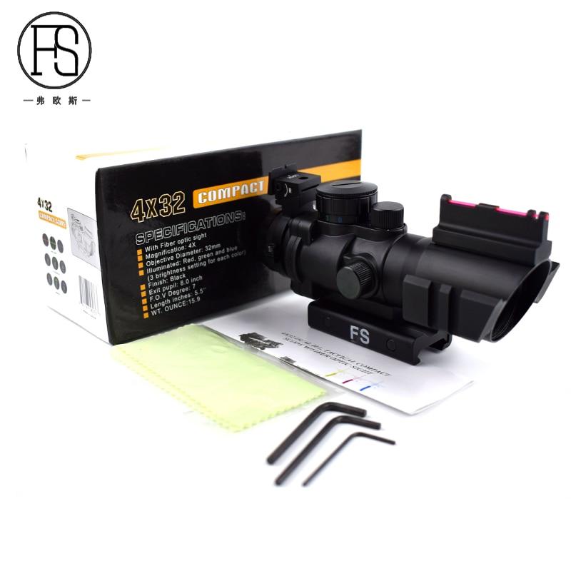 FS Tactical 4x32 Riflescope 20mm Rifle Rail Use Shooting Hunting Rifle Fiber Optics Sight Airgun Air Rifle Scope tactical 4x32 rifle scope red dot green optics fiber hunting shooting m9430