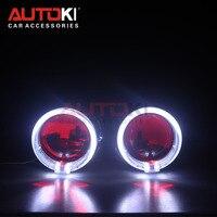 Autoki LED Angel Devil Eyes Bi xenon Lens Projector Headlight For Car Retrofit DIY W/ Daytime Running Lights 2.5'' H4 H7