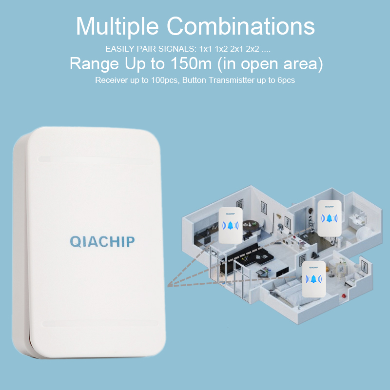 Image 5 - QIACHIP Self powered Home Waterproof Wireless Doorbell No Battery LED Light 200M Home Bell 38 Melodies 4 Levels Volume Door Bell-in Doorbell from Security & Protection