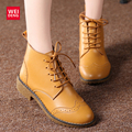 2017 Women Genuine Leather Bullock Ankle Boots Fashion Outdoor Winter Lace up Classic Military Boats High Top Waterproof Shoes