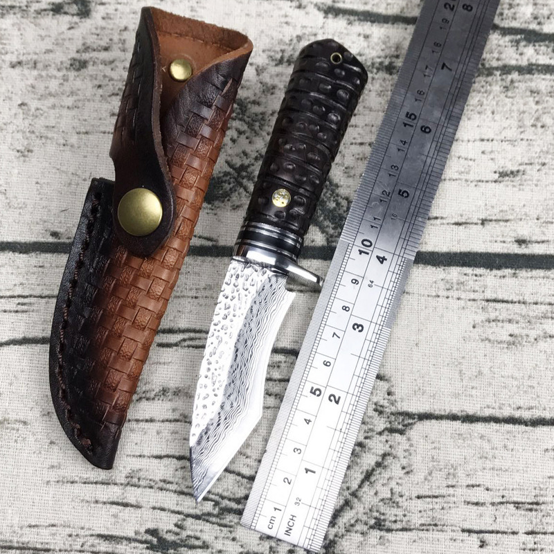 Hand made Outdoor camping defensive tactical pattern hardness sharp knife Damascus Steel VG10 straight Collection Tool in Kitchen Knives from Home Garden