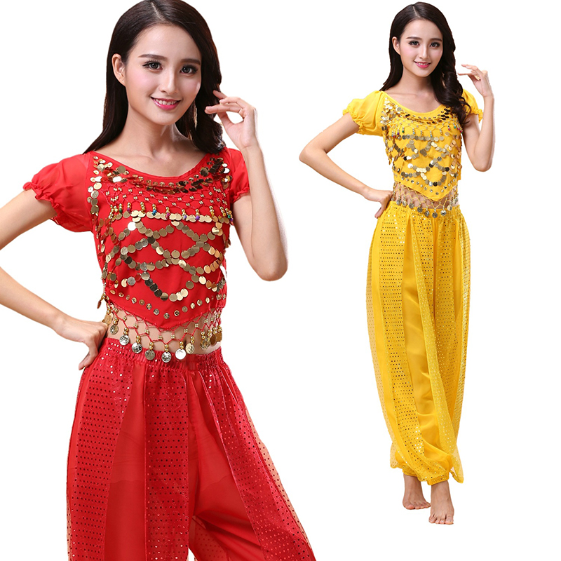 2pcs Adult Belly Dance Costume Bollywood Costume Indian Bellydance Pants+Top Women Belly Dancing Costume Sets Tribal Pant