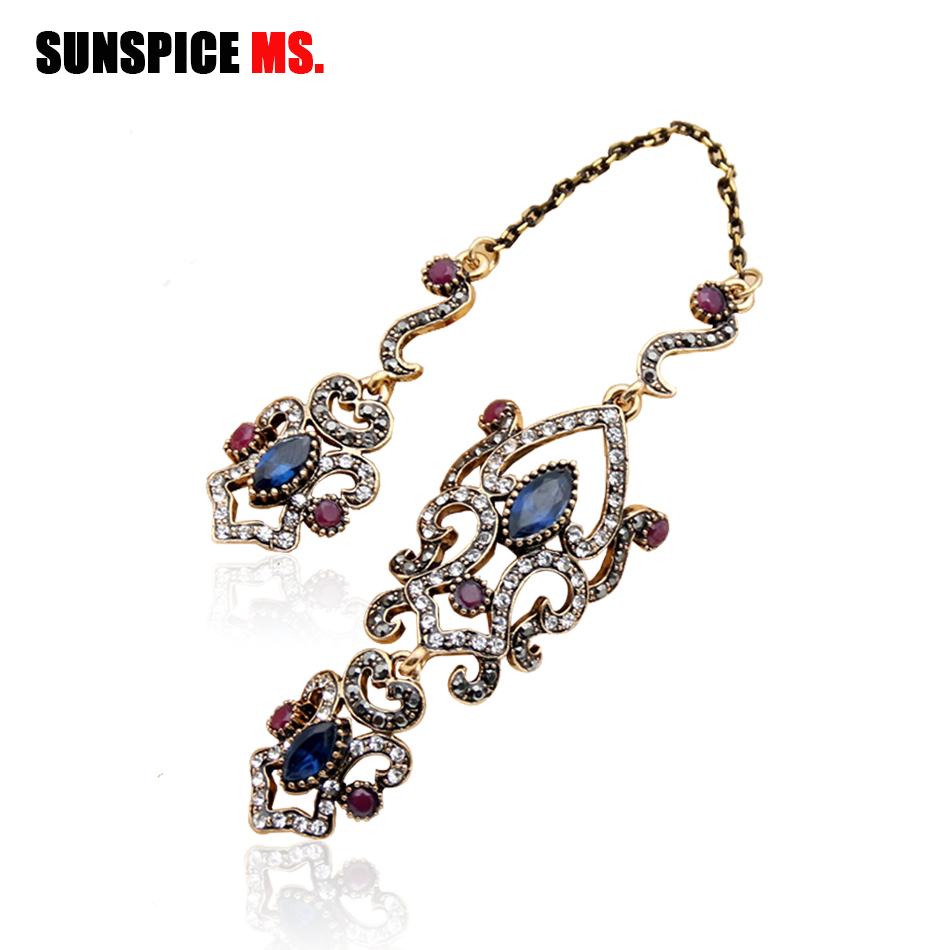 SUNSPICE MS Vintage Turkish Women Flower Double Link Ring Sets Arabesque Crystal Jewelry Antique Gold Gold Wedding Wedding Anillos 2019