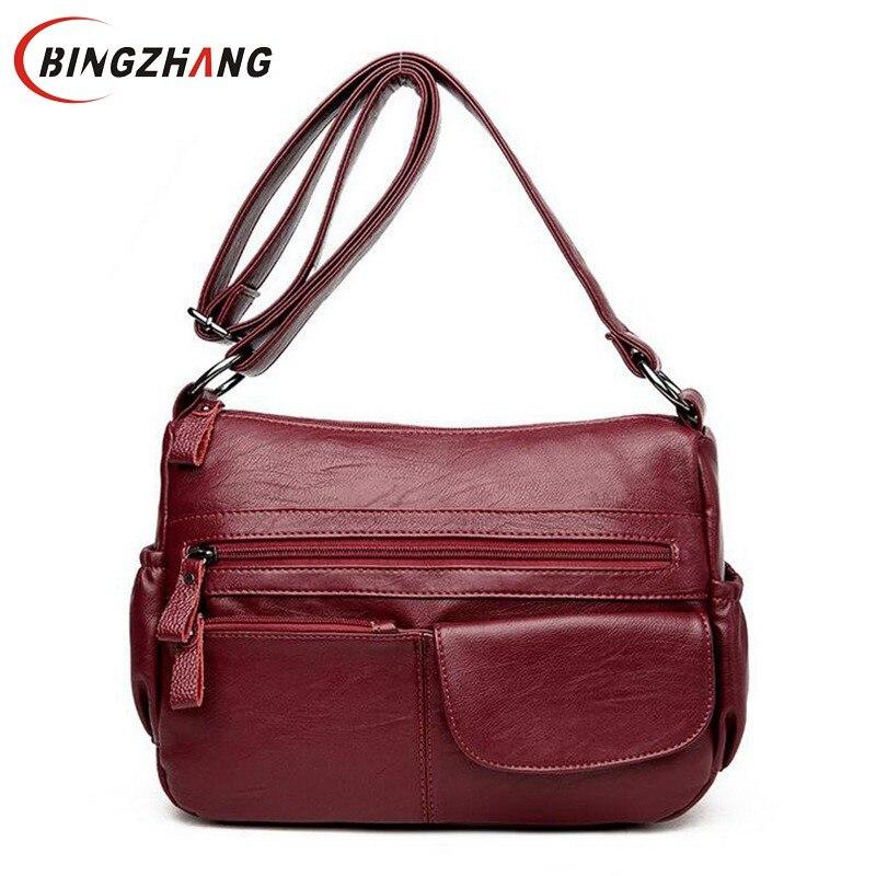 f78c1cfed184 Купить Брендовые женские сумки через плечо дизайнерские кожаные сумки  высокого качества женские двойные молнии сумки через плечо Новые Sac Femme  L4 3127 ...