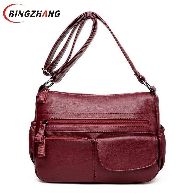Brand Women Messenger Bags Shoulder Designer High Quality Leather Bags Women Double Zippers Crossbody Bags New Sac Femme L4-3127
