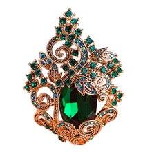 Funmor Ретро зеленый большой Peacoke хрустальные броши старинные украшения Свадебная брошь букет корсажи Античный Золотой хиджаб с цветочным узором булавка