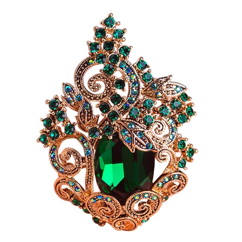 Black Flower Corsage Brooch Masoomah: Funmor Retro Green Large Peacoke Crystal Brooches Vintage