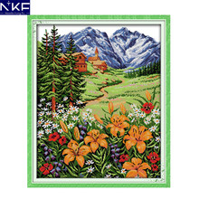 NKF Snow Mountain Im Frühjahr Muster Handkreuzstich-stickerei-set Kit Landschaft Design Kreuzstich Dekoration(China)