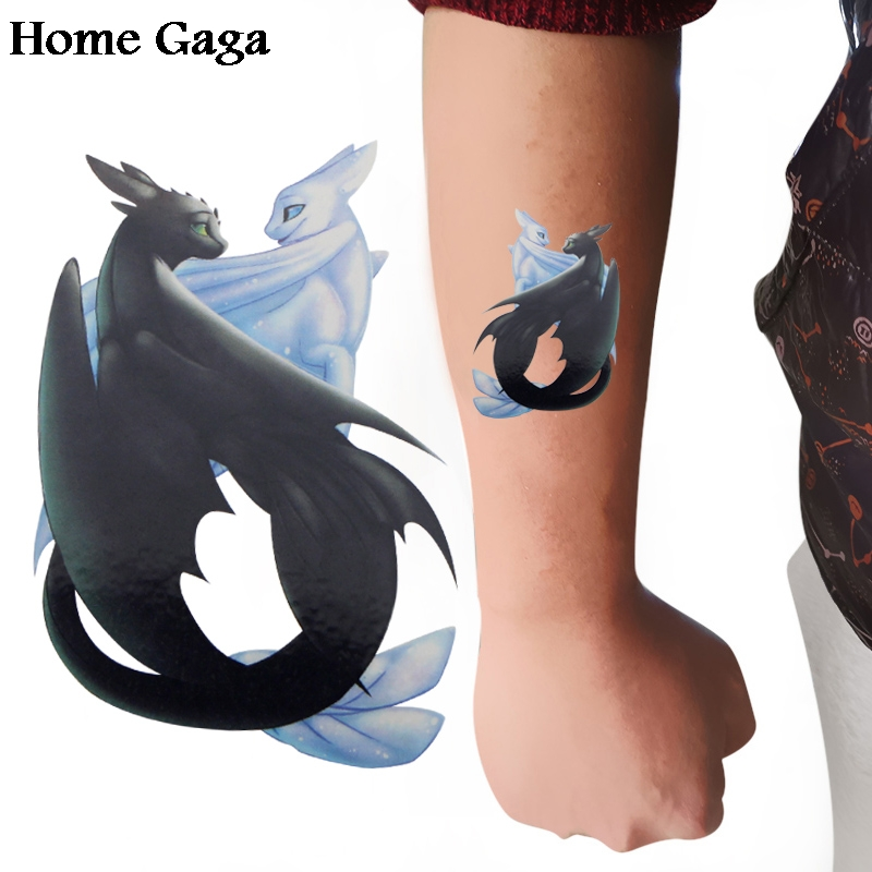 Homegaga 2pcs How To Train Your Dragon Toothless Night Light Fury Temporary Body Art Shoulder Tattoo Sticker Party Cosplay D1690