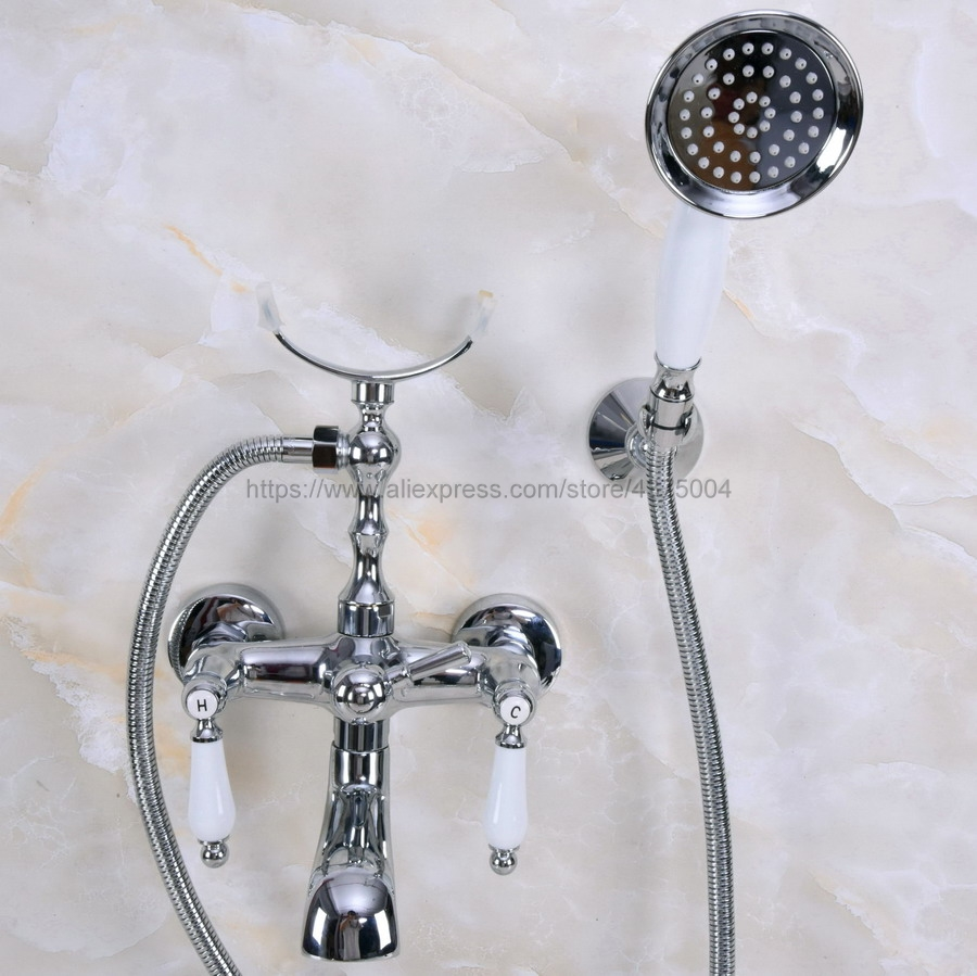 Polished Chrome Bathtub Faucet Wall Mount Handheld Bath Tub Mixer System with Handshower Telephone Style Nna238 home office wired intercom telephone system with wall mount 2 pack