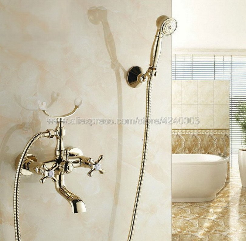 Gold Brass Bathtub Faucets Telephone Style Tub Mixer Taps Dual Handle Bathroom Bath Shower Faucet with