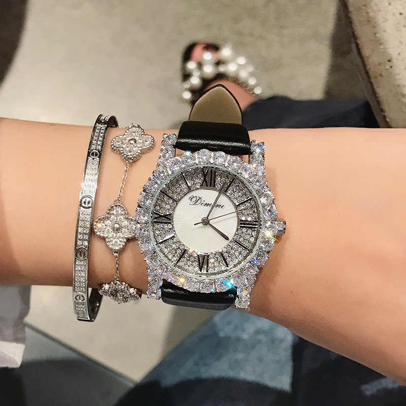 新ラインストーンレディース腕時計女性ダイヤモンドドレス腕時計ファッションレザーストラップの女性の腕時計 2019 エレガントな女性時計 montre ファム