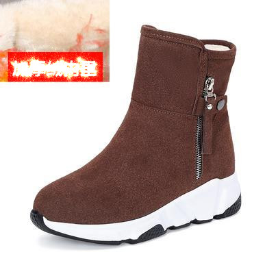 New Fashion Women Boots Snow Boots Sneakers Plush High Top Velvet Cotton Shoes Warm Lace-up Non-slip boots 40