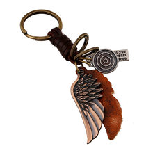 wings leather braid Classicism men women keychain bag pendant Cast alloy Car key chain ring holder Jewelry(China)