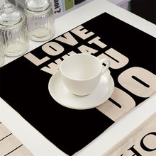 Geometric Letter Pattern Place mat Dining Table Mats Drink Coasters Cotton Linen Pads 42*32 cm Kitchen Accessories