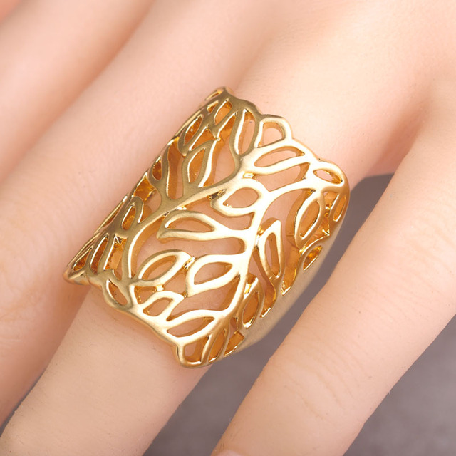 Flower Leaf Shaped Big Size Women Wide Rings Joias Ouro Dubai Hollow Party Finger Ring Wedding Ring Anel Anillos Bijouterie