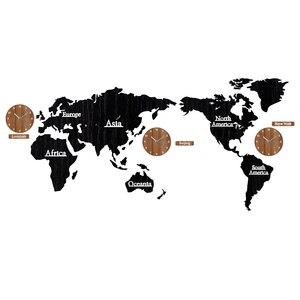 Image 2 - Creative עולם מפת קיר שעון עץ גדול עץ שעון קיר שעון מודרני אירופאי עגול אילם relogio דה פארדה