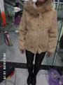 leather real fur  coat Hooded raccoon rabbit skin