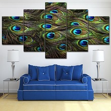 Canvas HD Print Wall Art Poster Framework 5 Piece Animal Peacock Colors Feather Painting Living Room Home Decor Modular Picture