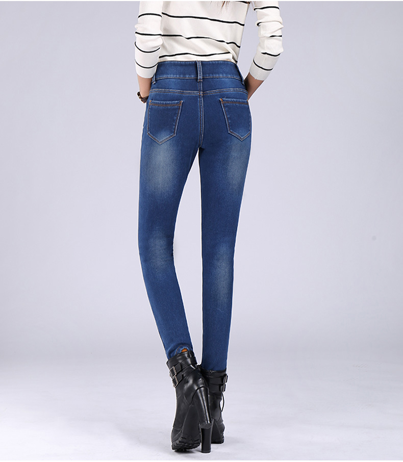 Jeans Female Autumn And Winter Plus Velvet New Section Of The Korean Version Of The Elastic Stretch Slim Thin Trousers Ms. Black