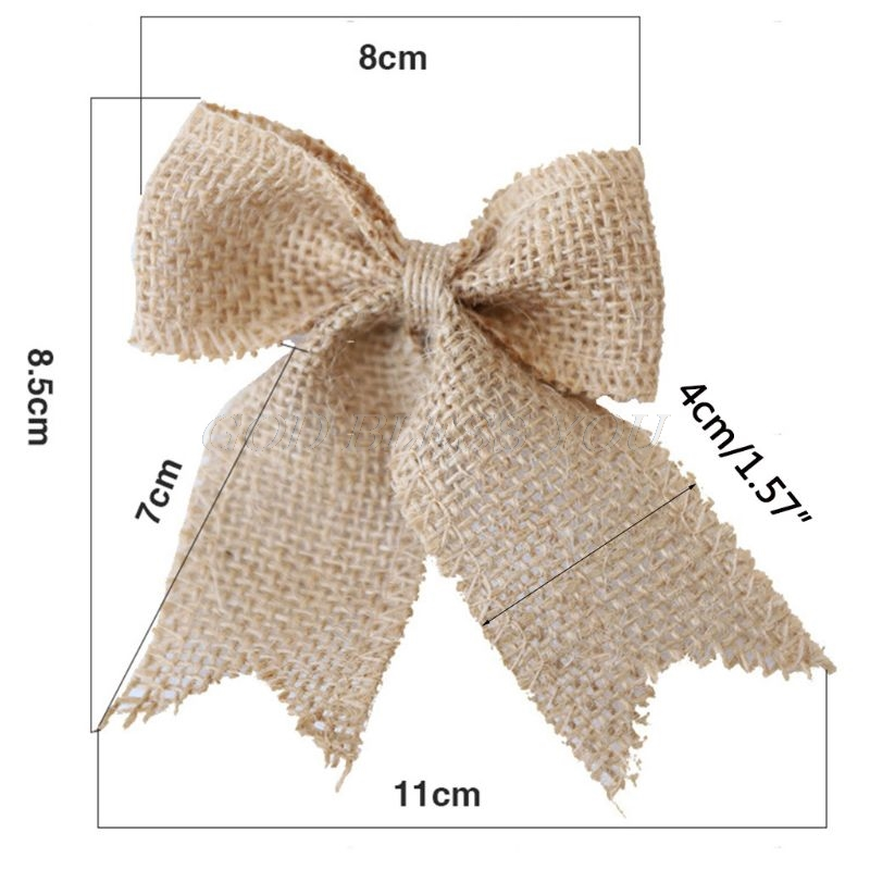 DIY Simple Rustic Burlap Craft Jute Bow Ties Lace Trim Ruched Bowknot Christmas Tree Ornaments Sewing Wedding Decoration 2 Types