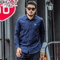 CARA GRANDE Plus Size Camisas Dos Homens De Alta Qualidade Da Moda Primavera 2016 Camisa Manga longa Homens Camisa Ocasional Azul Liso Macho 1466 PZ4