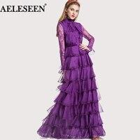 Макси Для женщин модные платья европейский длинный рукав кружево вечерние платье лоскутное фиолетовый/черный элегантный пол Длина Элитная