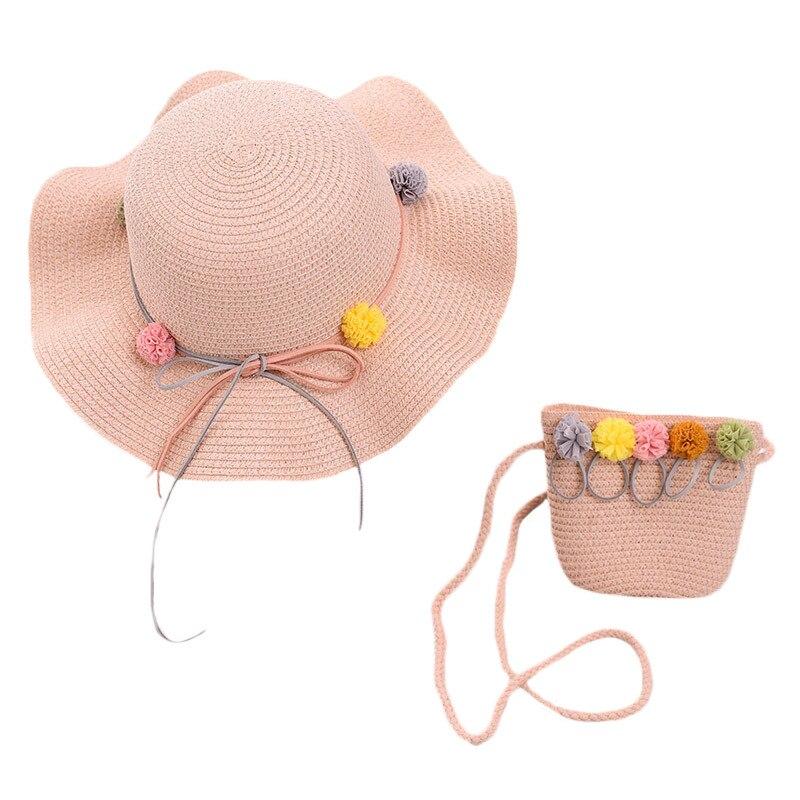 Baby Girls Children Straw Beauty Floral Hat Baby Sun Hat Girl Summer Cap Beach Visor Hat Straw Bag Two-Piece Sets